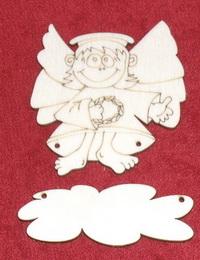Výøez jmenovka ježíšek s køídly v.8x7,2cm