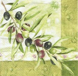 OL 034 R2S - ubrousek 33x33 - olivy na zeleném
