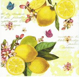OZ 064 R2S - ubrousek 33x33 - citron + motýlci