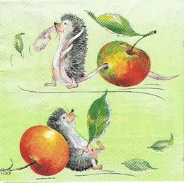 ZV 061 - ubrousek na decoupage - ježek s jablíèkem