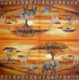 ET 026 - ubrousek 33x33 - žirafa, slon....