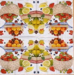 OZ 075 R2S - ubrousek na decoupage 33x33 - košíky s ovocem