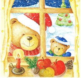 VM 028 - ubrousek na decoupage 333x33 - medvídci za oknem