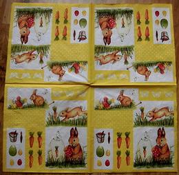 VEL 004 - ubrousek 33x33 - zajíèci na žlutém