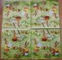 VEL 018 - ubrousek 33x33 - zajícèi malují vejce