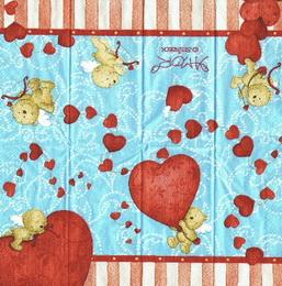 PK 038 - kapesníèek 21x21 - medvídek se srdèíkem modr.