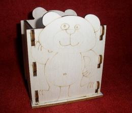 Krabička - stojánek na tužky MEDVÍDEK - 10,5x v.13x9cm - zvětšit obrázek
