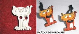 TP3D0267 - Sponka nebo knoflík KOÈKA STOJÍCÍ - 3x2,5cm - zvìtšit obrázek