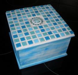 Døevìná mozaiková krabièka tyrkys - zvìtšit obrázek