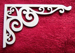 2D výøez - rohový ornament srdce - v. cca 6x9cm