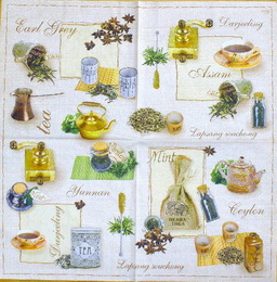 KC 071 - ubrousek na decoupage 33x33 - herba tea na zeleném- balení po 20ks