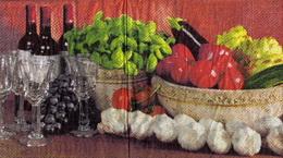 KM 047 - ubrousek 33x33 - mísa zeleniny+èesnek-balení 20ks
