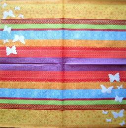 OS 025 -ubrousek 33x33-barevný mix s motýli