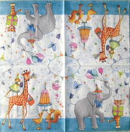 DE 021 - ubrousek 33x33 - sloník+žirafa