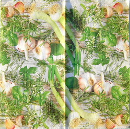 OZ 076 ubrousek 33x33 - èesnek+bylinky
