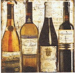 ZA 016 - ubrousek 33x33 -vintage lahve vína