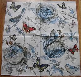 KV 461 - ubrousek 33x33 - kvìtiny,ptáèek,motýl