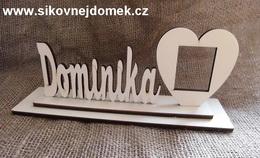 Nápis Dominika velikost 6,5x13cm+podložka+rám foto - zvětšit obrázek
