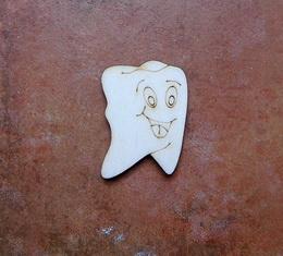 2D výøez zub s oblièejem - 4x2,9cm