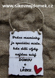 Cedulka Srdce maminky /BF/ - hnědo-bílá pat., vel.14x14cm - zvětšit obrázek