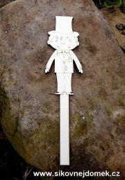 2D výøez zápich ženich. velikost cca v.12x5,2cm + držátko 1,2x9cm - zvìtšit obrázek