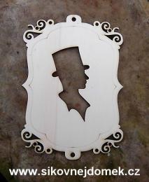 2D výřez rámeček ozdobný s ženichem svat.na zadní opěrku židle -v.15x10,6cm - zvětšit obrázek