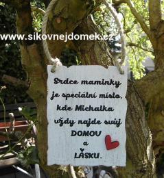 Cedulka Srdce maminky 13x10cm /BF/ SE JMÉNEM- hnědo-bílá pat.,  - zvětšit obrázek