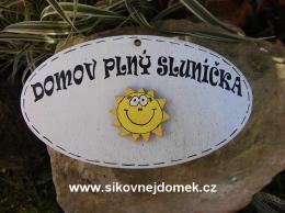 Cedulka ovál Domov plný sluníèka 14x8cm - hnìdo-bílá- sluníèko pøekl. - zvìtšit obrázek