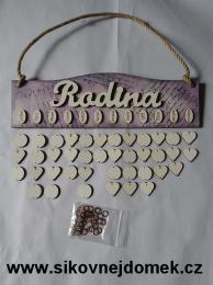 Rodinný kalendář dekor levandule,šedá,bílá s nápisem Rodina - zvětšit obrázek