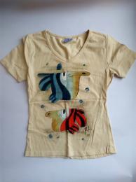 Dámské triko krátký rukáv béžové vel. L ryby