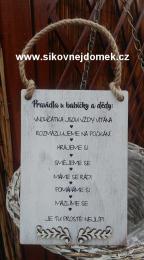 Cedulka Pravidla u bab.a dìdy -20x14cm-hnìdo-bílá pat. - zvìtšit obrázek