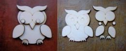 3D sova č.3 skládačka - v. 7x6,8cm - zvětšit obrázek