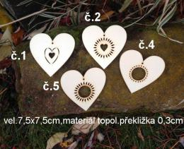 2d výøez srdce è.5-7,5x7,5cm