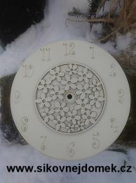 3D hodiny kul. s kytièkovým vzorem bez hodinového strojku pr.25cm