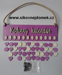Sestava s nápisem Rodinný kalendáø tamavá fialovo-levandulová - zvìtšit obrázek