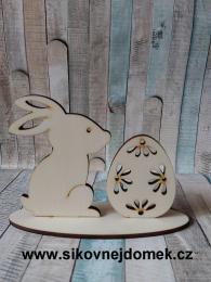 Zajíèek+vejce na podložce-kvìtinky - zvìtšit obrázek