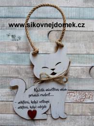 Cedulka kočka 19x15cm - Každá návštěva, hnědo-bílá pat. - zvětšit obrázek