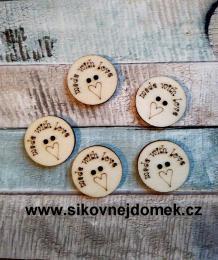 2D výøez - knoflíèek kulatý made with love pr.2,2cm-cena za ks