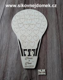 Svatební balón nevěsta+ženich- grav.srdíčka - 28x18cm - zvětšit obrázek