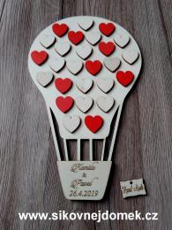 Svatební balón +16pøír.srdíèek+10 èervených srdíèek- 34x21cm - zvìtšit obrázek