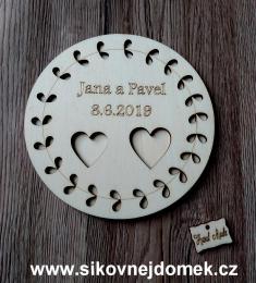 Podtácek svatební vyø.listy-pøírodní pr. 16cm - zvìtšit obrázek