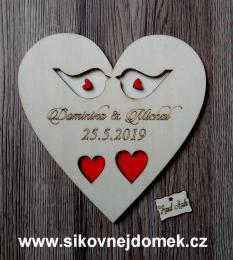 Srdce svatební podtácek ptáèci barva- 17x17cm