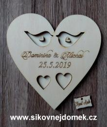 Srdce svatební podtácek ptáèci pøírodní - 17x17cm