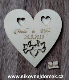 Srdce svatební podtácek holoubci přírodní - 17x17cm - zvětšit obrázek