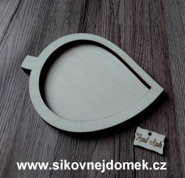 Podtácek list na snubní prstýnky pøírodní - 17x13cm