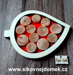 Podtácek list na snubní prstýnky,barva,koleèka - 17x13cm
