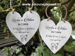 Svatební srdce dekor 20x20cm postavièky nevìsta+ženich - hnìdo-bílá patina-CENA ZA KS. - zvìtšit obrázek