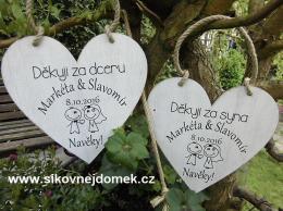Svatební srdce dekor 18x18cm-Navìky - hnìdo-bílá patina-CENA ZA KS.