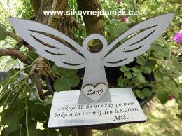 Anděl na podložce -poděkování pro svědkyní-hnědo-bílá patina - zvětšit obrázek
