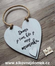 Cedulka srdce Doma je.... 14x14cm, hnìdo-bílá patina